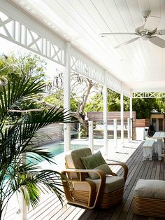 Byron Bay beach house renovation - pool, deck and fence Outdoor Areas, Outdoor Rooms, Outdoor Living, Outdoor Fans, Outdoor Chairs, Byron Bay Beach, Queenslander, My Pool, Luz Natural