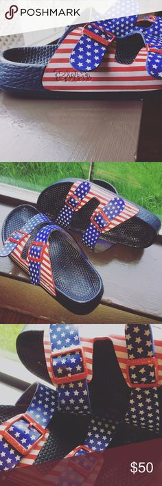 Birkinstock American flag sandals Used condition. Buckles have wear and there are two little slots in leather strap. No problems with function of shoe. Still fun and full of life! Birkenstock Shoes Sandals