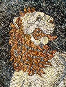 Greek pebble mosaic, detail from The Lion Hunt, from Pella, Macedonia, c. 300 bc.