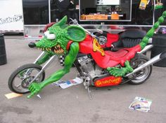 """This bike was created by Ed """"Big Daddy"""" Roth to model his character Rat Fink. (His Mickey Mouse antihero.) Big Daddy Roth was one of America's greatest motorhead counter culture figures of the 1950's-60's. 