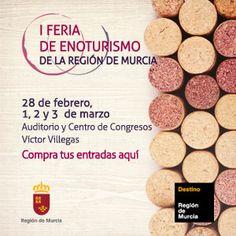 I Feria de Enoturismo de la Región de Murcia del 28 de febrero al 3 de marzo. Compra tu entrada por sólo 3€ y disfruta de dos consumiciones de nuestro mejor vino. #feriaenoturismomurcia http://www.murciaturistica.es/webs/feriaenoturismo/index.html?utm_source=Pinterest&utm_medium=Redes%20Sociales&utm_campaign=feria%20del%20vino
