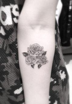 Blackwork Rose Tattoo on Forearm by Brain Woo
