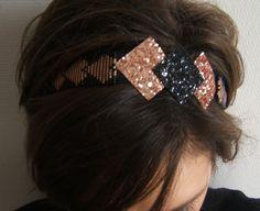 Bijou de tête, Bandeau Cheveux, Serre Tête, Headband Réglable Tissé en Perles et Paillettes Glitter Noir et Or Rose : Accessoires coiffure par emma-shop