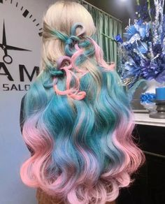 Blue pink ombre dyed hair color