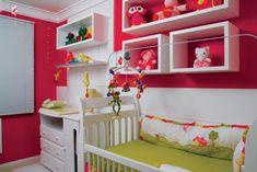 Decoração // Quarto para Bebê // Menina // Cores Fortes // Moderno // Rosa Pink e Verde // Lindo // ♥