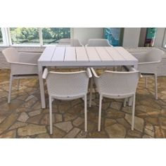 Nardi Net 7 Piece Dining Setting with Rio 140cm Extendable Table
