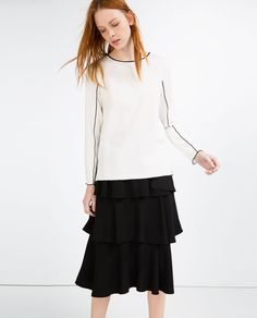 ZARA - NEW IN - BLOUSE WITH CONTRAST PIPING