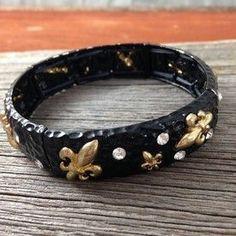 Black and Gold Fleur de Lis Stretch Cuff Bracelet ~ Christmas or other holiday gift idea for women ~ New Orleans Saints colors! ~ Louisville, Kentucky, Paris, France ~ DuctTapeAndDenim.net