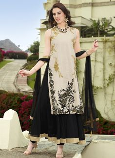 Wholesale Cream & Black Designer Salwar Kameez Collection  Buy our latest collection of salwar kameez @ http://www.wholesalesalwar.com/salwar-suits?catalog=vogue-1559