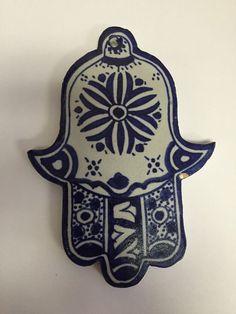 Moroccan Khamsa Hand Lucky Amulet Glazed Ceramic Mosaic Tile Hang Wall Delf blue #Handmade