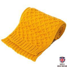 Honeycomb Merino Wool Scarf - Mustard   Sweateronline - Fine British Knitwear - Made in Great Britain