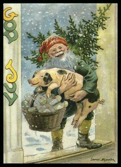 """Elf with a pig in his arms - Artist Jenny Nyström """" Vintage Christmas Images, Funny Christmas Cards, Merry Christmas Card, Christmas Scenes, Christmas Elf, Christmas Pictures, Holiday, Swedish Christmas, Scandinavian Christmas"""