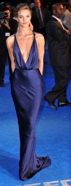 Sexy deep blue evening dress with deep V