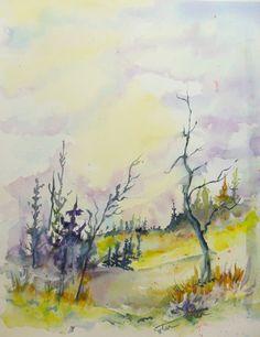 Autumn grove original watercolor painting by WaterBearerStudios, $40.00