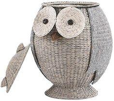 """Owl Laundry Clothes Hamper, 28""""Hx22""""Wx21.7""""D, GREY"""