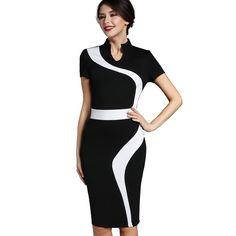 dc560bdfde Nice-forever Vintage Patchwork Stylish Elegant Casual Work Short Sleeve  V-Neck Bodycon Women Office Pencil Slim Dress B320