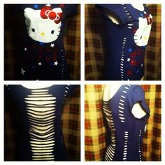 "OOAK DiY reconstructed ""Hello Kitty"" Slashed Shirt"