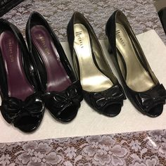 """Black bow heel bundle of two in size 10 Both pairs are Preloved and show it but much life left in both.  One is from Madden Girl the other are Nickels.  Both black with front bow and open toe.  One is 3"""" the madden are 4"""" tall.  Priced accordingly. Madden Girl Shoes Heels"""