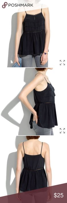 Madewell Black Peplum Silk Cami Size M 100% Black silk camisole by Madewell. Beautiful lace panel details at neckline and waistline with a tiered look. Lightweight silk has great drape. Only worn twice, excellent used condition. Madewell Tops Camisoles