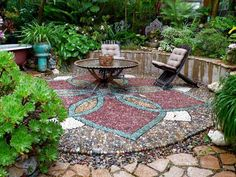 Pebble mosaic is an art I'd love to see more of. This exquisitely detailed lotus-shaped patio brings to mind tropical Asian destinations. Designed and installed by Jeffrey Bale Garden Design. Mosaic Birdbath, Mosaic Garden Art, Mosaic Walkway, Outdoor Landscaping, Outdoor Gardens, Outdoor Decor, Landscaping Ideas, Outdoor Living, Pebble Mosaic