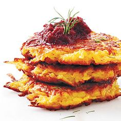 Hanukkah Dish 33g carb for 3 latkes and about 2 1/2 tablespoons beet puree | Crispy Root Vegetable Latkes with Beet Puree | MyRecipes.com