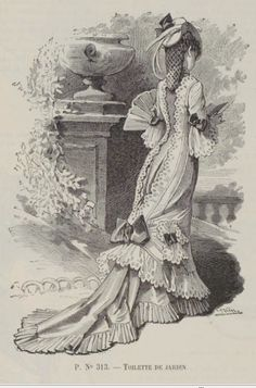Le moniteur de la mode 1876( it would be neat if at the waist their was a sash that you could see peeking out from slits in the front and the rift in the fabric and lace at the back