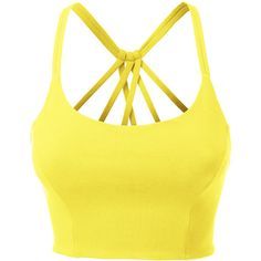 LE3NO Womens Fitted Halter Cut Out Back Bralette Crop Top (195 ARS) ❤ liked on Polyvore featuring tops, crop tops, shirts, tank tops, cut out back shirts, yellow shirt, yellow halter top, cut out back tops and bralette crop top