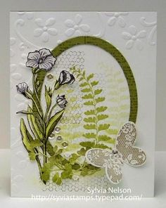 Stampin' Up! ... hand crafted card ... Butterfly Basics ... olive and white ... oval frame ... lovely ...
