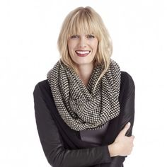 Women's Black Combo Acrylic Two Tone Mixed Knit Scarf by Sole Society
