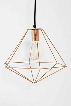copper geo pendant light
