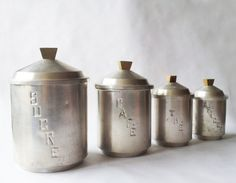 Set of 4 French Vintage KITCHEN CANISTERS white metal aluminium