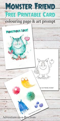 Friendly Monster: free printable card + colouring page + drawing prompt. A fun little gift that doubles as a craft for kids who like to draw! Great Valentine's day or Halloween card. Creative Activities For Kids, Crafts For Kids To Make, Fun Crafts, Art For Kids, Toddler Activities, Free Printable Cards, Free Printable Coloring Pages, Coloring Pages For Kids, Free Printables