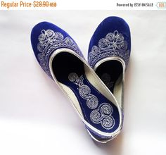 20%  WOMENS DAY SALE Us Size 10/Wedding Ballet Flats/Royal Blue Wedding shoes/Velvet Shoes/Silver Embroidered Shoes/Reception Shoes/Wedding