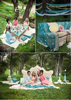 Love this idea!!! Pajama Party outside!! I think this would be more for a bachellorette party idea or Lingerie. Don't really imagine grammy's and auntie's at a sultry bridal shower pajama party, hahaha.