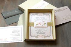 Art Deco Elegant Box Wedding Invitations Unique by BeaconLane, $14.50
