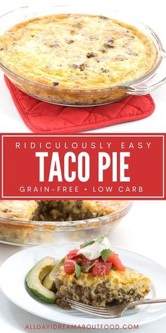 Need an easy dinner recipe the whole family will love? Look no further than this Easy Taco Pie! Rich and full of great taco flavor, it whips up in 45 minutes. It's freezable too, so you can make it ahead for those busy weeknights! Bariatric Recipes, Healthy Eating Recipes, Ketogenic Recipes, Paleo Recipes, Mexican Food Recipes, Low Carb Recipes, Cooking Recipes, Taco Pie Recipes, Mexican Dinners