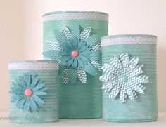 Upcycled Tin Can Craft (she: Jeanie) project, upcycl tin, tin cans crafts, idea, recycled cans, blue flowers, tins, tin can crafts, baby blues