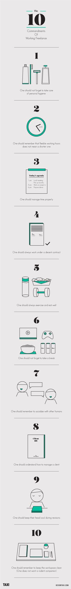 Infographic: The 10 Commandments Of Working Freelance - DesignTAXI.com