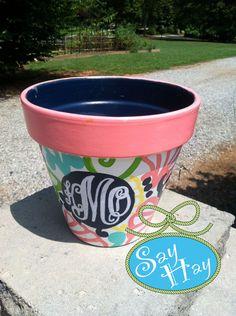 "8"" Terracotta Flower Pot Painted with Monogram. $36.00, via Etsy."