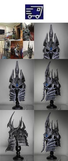 WOW Lich King Helm of Domination Model Polystone 1:1 Wearable On Stand 60cm//24/'/'
