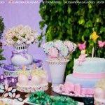Mesa do bolo festa do jardim das fadas