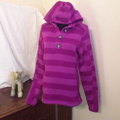 ⚡️SALE⚡️ Fleece lined purple striped hoodie Warm and comfy! Hoodie has thumb hooks in the sleeves.  Avalanche brand is a premiere outdoor clothing line. Avalanche Jackets & Coats