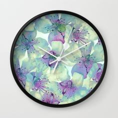 soft floral with purple Wall Clock SOLD!thank you!!