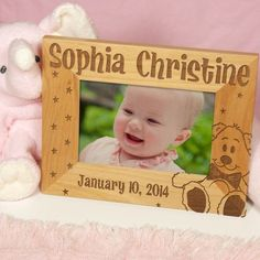 New Baby Personalized Wood Picture Frames. Our Engraved Baby Picture Frame displays a lovely New Baby picture surrounded by the engraved name, date and cuddly teddy bear. Your entire family will absolutely love this Personalized Baby Frame as their own personalized birth announcement. Our Engraved Baby Picture Frame can be personalized with any child's name and date. Engraved Baby Picture Frame measures 8¾ x