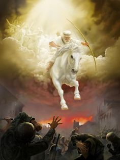White Horse, Jesus Christ -- his 'parousia' (presence) as King since his actual coming at Armageddon, God's war against Satan and all unrighteousness. led by Jesus himself. Pictures Of Jesus Christ, Bible Pictures, Image Jesus, Jesus Christus, Prophetic Art, Biblical Art, Jesus Art, Lion Of Judah, Bible Stories