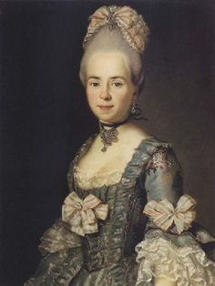 Portrait of a lady wearing a blue embroidered dress by Anton Wilhelm Tischbein