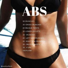 Fitness Workouts, Summer Body Workouts, Easy Workouts, At Home Workouts, Fat Workout, Workout Plans, Flat Abs Workout, Weight Workouts, Workout Routines
