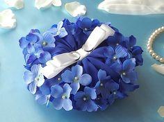 和風リングピロー/青い紫陽花の花を飾ったリングピロー