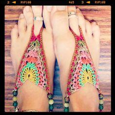 Crochet Cotton Barefoot Sandals por Lunaress en Etsy