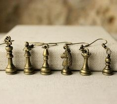SIX pairs Chess earrings chess player jewellery gift for